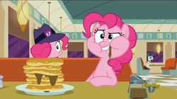 Size: 1920x1080 | Tagged: safe, screencap, lucky breaks, pinkie pie, the clone that got away, the saddle row review, too many pinkie pies, /co/nrad, blink and you'll miss it, callback, clone, discovery family logo, eating, faic, fedora, food, frown, grin, hat, implied mirror pool, looking at you, looking back, messy eating, mirror pool, pancakes, pinkie clone, puffy cheeks, raised eyebrow, restaurant, revelation, self ponidox, smirk, syrup, who knows, wide eyes