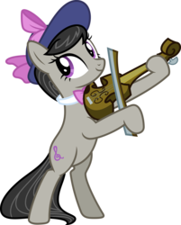 Size: 7238x9000   Tagged: safe, artist:korsoo, octavia melody, pony, a hearth's warming tail, absurd resolution, bipedal, bow (instrument), bowtie, cute, female, hat, inkscape, musical instrument, playing, simple background, smiling, solo, transparent background, vector, victorian, violin, violin bow