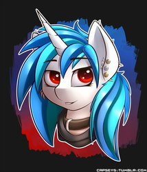 Size: 1500x1750 | Tagged: safe, artist:capseys, dj pon-3, vinyl scratch, pony, unicorn, abstract background, bust, choker, clothes, collar, colored pupils, ear fluff, ear piercing, female, hoodie, looking at you, piercing, portrait, red eyes, smiling, solo, wrong eye color