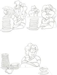 Size: 2376x3151 | Tagged: safe, artist:catstuxedo, pinkie pie, human, the saddle row review, belly, bill, chubby, eating, fat, food, humanized, monochrome, pancakes, pinkie clone, puffy cheeks, scene interpretation, stuffed