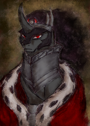 Size: 308x433   Tagged: safe, artist:remains, king sombra, unicorn, bust, looking at you, male, portrait, sitting, solo