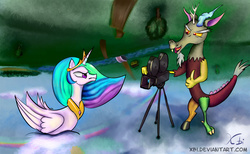 Size: 1200x740 | Tagged: safe, artist:xbi, discord, princess celestia, duck pony, angry, camera, celestia is not amused, cloud, discord being discord, frown, glare, nose wrinkle, open mouth, rainbow, scenery, sky, smirk, swanlestia, tabun art-battle finished after, this will end in pain, this will end in petrification, upside down, varying degrees of amusement