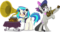 Size: 5994x3207 | Tagged: absurd res, a hearth's warming tail, artist:vector-brony, bipedal, bow (instrument), bowtie, cutie mark, dj pon-3, earth pony, female, fiddle, glasses, gramophone, hat, headphones, hooves, horn, looking at each other, mare, musical instrument, music notes, octavia melody, pony, safe, simple background, smiling, sunglasses, table, transparent background, unicorn, vector, victorian, vinyl scratch, violin, violin bow, wax cylinder