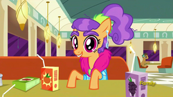 Size: 1277x717   Tagged: safe, screencap, plaid stripes, the saddle row review, discovery family logo, juice, juice box, spoon