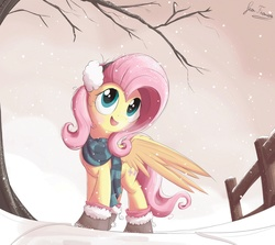 Size: 1935x1728 | Tagged: safe, artist:bugplayer, edit, fluttershy, pegasus, pony, boots, bugplayer is trying to murder us, clothes, cute, earmuffs, female, fence, mare, open mouth, scarf, shyabetes, snow, snowfall, solo, sweet dreams fuel, tree, winter outfit