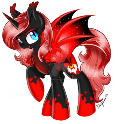 Size: 1024x1058   Tagged: safe, artist:silent-shadow-wolf, oc, oc only, oc:princess bloodbourne, alicorn, bat pony, bat pony alicorn, pony, alicorn oc, april fools, bat wings, donut steel, ethereal mane, joke oc, red and black oc, simple background, slit eyes, transparent background, watermark