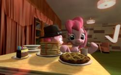 Size: 1024x640 | Tagged: safe, artist:ljdamz1119, pinkie pie, the saddle row review, 3d, cake, clone, eating, food, gmod, pancakes, pie, pinkie clone, scene interpretation