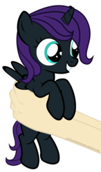Size: 4617x7917 | Tagged: safe, artist:justisanimation, oc, oc only, oc:nyx, alicorn, human, pony, fanfic:past sins, absurd resolution, alicorn oc, cute, daaaaaaaaaaaw, female, filly, flash, hand, hnnng, holding a pony, justis holds a pony, nyxabetes, simple background, smiling, transparent background, vector, weapons-grade cute