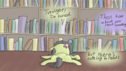 Size: 1280x720 | Tagged: safe, artist:happy harvey, oc, oc only, oc:anon, oc:filly anon, blatant lies, book, bookshelf, bored, colored, dialogue, drawn on phone, female, filly, foal, lazy, library, oblivious, on back, rule 63