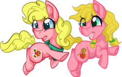 Size: 2260x1428 | Tagged: safe, artist:paintsplatter, oc, oc only, oc:applebee, oc:sugarbee, magical lesbian spawn, offspring, parent:applejack, parent:pinkie pie, parents:applepie, twins