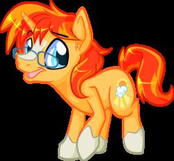 Size: 1836x1704 | Tagged: safe, artist:paintsplatter, oc, oc only, oc:sunshine ray, pony, unicorn, blaze (coat marking), coat markings, glasses, male, offspring, parent:sunburst, parent:sunset shimmer, parents:shimmerburst, simple background, socks (coat marking), solo, stallion, transparent background
