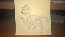 Size: 5344x3008 | Tagged: safe, artist:zeb, derpibooru exclusive, oc, oc only, object pony, original species, pony, absurd resolution, element pony, helium, helium pony, male, photo, ponified, raised hoof, solo, stallion, traditional art