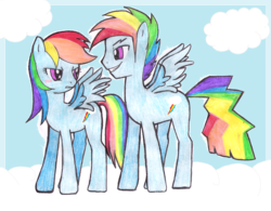 Size: 1665x1296 | Tagged: artist:jaquelindreamz, dashblitz, female, male, rainbow blitz, rainbow dash, rapeface, rule 63, safe, selfcest, self ponidox, shipping, straight, traditional art