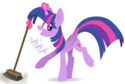 Size: 3850x2590 | Tagged: safe, artist:starlet8228, twilight sparkle, alicorn, pony, the saddle row review, broom, cute, ear fluff, female, mare, profile, solo, starry eyes, sweep, sweeping, sweepsweepsweep, twiabetes, twilight sparkle (alicorn), twilight sweeple, wingding eyes