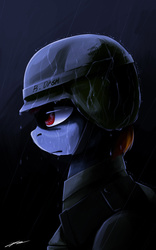 Size: 1000x1600 | Tagged: safe, artist:gasmaskfox, rainbow dash, armor, dark, helmet, rain, solo, war