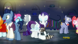 Size: 1920x1080 | Tagged: blue bobbin, blue corn reduction with shallot confit, diamond cutter, discovery family logo, joan pommelway, pacific glow, rarity, roger silvermane, safe, screencap, smokey, sterling silver, the saddle row review, unnamed pony, waxton