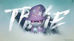 Size: 1920x1080   Tagged: safe, artist:adrianimpalamata, artist:minhbuinhat99, artist:ninga-bob, trixie, pony, unicorn, cape, clothes, female, glowing eyes, grunge, jewel, mare, remix, solo, trixie's hat, vector, wallpaper