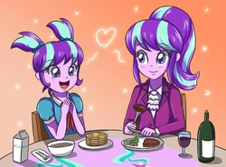Size: 3507x2601   Tagged: safe, artist:sumin6301, snowfall frost, starlight glimmer, a hearth's warming tail, equestria girls, adopted offspring, alcohol, bottle, broccoli, butter, celery, cereal, clothes, cute, cutie mark, double the glimmer, duality, eating, equestria girls-ified, excited, food, fork, glimmerbetes, glimmerdoption, knife, mama starlight, meat, milk, napkin, open mouth, pancakes, parent:starlight glimmer, plate, self adoption, self paradox, spoon, steak, syrup, table, tablecloth, time paradox, wine, younger
