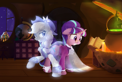 Size: 1657x1123 | Tagged: safe, artist:scootiebloom, applejack, snowfall frost, spirit of hearth's warming past, starlight glimmer, ghost, a hearth's warming tail, scene interpretation, spirit