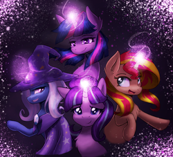 Size: 2181x1981 | Tagged: safe, artist:vulpessentia, starlight glimmer, sunset shimmer, trixie, twilight sparkle, alicorn, pony, unicorn, chest fluff, counterparts, glowing horn, magic, magical quartet, simple background, twilight sparkle (alicorn), twilight's counterparts