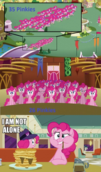Size: 565x960 | Tagged: safe, edit, edited screencap, screencap, pinkie pie, earth pony, pony, the saddle row review, too many pinkie pies, clone, female, food, mare, pancakes, pinkie clone