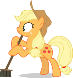 Size: 8000x8486 | Tagged: safe, artist:luckreza8, applejack, earth pony, pony, the saddle row review, .svg available, absurd resolution, bipedal, broom, cowboy hat, female, hat, hoof hold, inkscape, mare, simple background, smiling, solo, stetson, sweeping, sweepsweepsweep, transparent background, vector