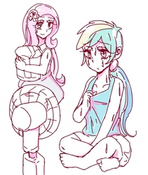 Size: 667x789 | Tagged: safe, artist:nemucure, fluttershy, rainbow dash, equestria girls, clothes, dress, sweat, tanktop