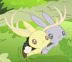 Size: 466x407 | Tagged: safe, screencap, jackalope, rabbit, filli vanilli, animal, burrow, cropped, duo