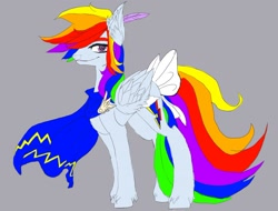 Size: 1280x973 | Tagged: safe, artist:brainiac, rainbow dash, oc, oc only, alternate universe, canterlot tales, clothes, concept art, feather, implied lesbian, implied shipping, implied twidash, scarf, simple background, solo, tail bow, unshorn fetlocks
