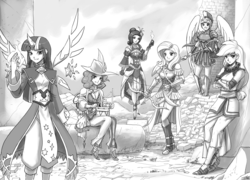 Size: 2000x1440   Tagged: source needed, safe, artist:johnjoseco, applejack, fluttershy, pinkie pie, rainbow dash, rarity, twilight sparkle, alicorn, human, my little mages, adventuring party, archer, archmage, arrow, bard, bow (weapon), bow and arrow, clothes, dragoon, drums, drumsticks, dungeons and dragons, enchantress, fantasy class, female, freckles, grayscale, hat, horn wand, humanized, knight, looking at you, mane six, monk, monochrome, musical instrument, open mouth, paladin, ranger, shield, sitting, smiling, spear, twilight sparkle (alicorn), wand, warrior, weapon, wizard