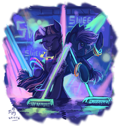 Size: 784x825 | Tagged: safe, artist:jowybean, applejack, twilight sparkle, alicorn, earth pony, pony, twijack weekly, the saddle row review, broom, female, lesbian, mare, party, shipping, sweeping, sweepsweepsweep, twijack, twilight sparkle (alicorn), twilight sweeple