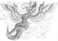 Size: 2338x1632 | Tagged: armpits, artist:cross_ornstein, badass, battle tendency, crossover, equestria girls, grayscale, harpy, jojo's bizarre adventure, kars, midnight sparkle, monochrome, safe, sci-twi, solo, source needed, traditional art, twilight sparkle, ultimate life form, wing arms