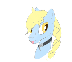 Size: 1280x1109 | Tagged: safe, artist:ononim, oc, oc only, oc:windswept skies, pegasus, pony, braid, bust, collar, girly, male, portrait, simple background, solo, stallion, tongue out, white background