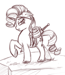 Size: 961x1113 | Tagged: alternate universe, artist:post-it, eyepatch, monochrome, rarity, safe, sketch, solo, source needed, sword, sword rara, weapon