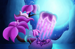 Size: 1024x670   Tagged: safe, artist:muddy-waters, princess luna, alicorn, pony, do princesses dream of magic sheep, dream, female, flower, full moon, giant flower, glowing flower, luna's dream, mare, moon, night, prone, scene interpretation, sleeping, solo, surreal