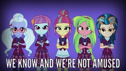 Size: 1280x720 | Tagged: safe, screencap, indigo zap, lemon zest, sour sweet, sugarcoat, sunny flare, equestria girls, friendship games, angry, clothes, crossed arms, crystal prep academy uniform, crystal prep shadowbolts, looking at you, meme, school uniform, shadow five, shadowbolt comments, sour sweet is not amused, unamused, unleash the magic