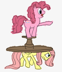 Size: 1280x1495   Tagged: safe, artist:fimflamfilosophy, fluttershy, pinkie pie, fluttershyfriday, helping, moving, pointing, table