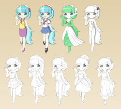 Size: 2000x1800   Tagged: safe, artist:jdan-s, coco pommel, gardevoir, anthro, alternate hairstyle, clothes, cocobetes, costume, cute, dress, fashion style, female, formal, high heels, mary janes, one-piece swimsuit, pajamas, pillow, pleated skirt, pokémon, sailor uniform, school uniform, shoes, skirt, socks, solo, swimsuit, wip, yawn