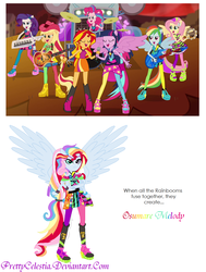 Size: 970x1280 | Tagged: safe, artist:prettycelestia, screencap, applejack, fluttershy, pinkie pie, rainbow dash, rarity, sunset shimmer, twilight sparkle, equestria girls, rainbow rocks, appleflaritwidashpie, female, fusion, gem fusion, humane seven, humane six, mane six, multiple arms, ponied up, steven universe, the rainbooms, twilight sparkle (alicorn), what has magic done