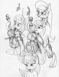 Size: 611x793 | Tagged: safe, artist:ciaran, derpibooru exclusive, octavia melody, bow (instrument), cello, cello bow, monochrome, musical instrument, sketch, sketch dump, traditional art, treble clef, treblebutt