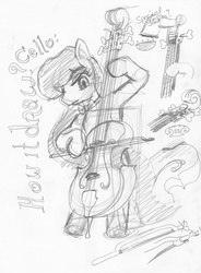 Size: 1193x1617 | Tagged: safe, artist:ciaran, derpibooru exclusive, octavia melody, bow (instrument), cello, cello bow, monochrome, musical instrument, sketch, sketch dump, traditional art