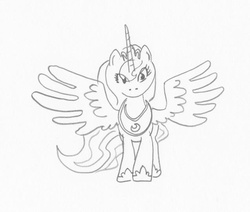 Size: 637x540 | Tagged: safe, artist:ciaran, derpibooru exclusive, princess luna, monochrome, simple background, sketch, solo, spread wings