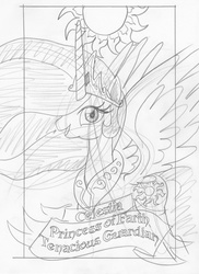 Size: 1202x1652 | Tagged: safe, artist:ciaran, derpibooru exclusive, princess celestia, looking at you, monochrome, open mouth, sketch, smiling, solo, spread wings, sun, tarot card, tarot:once upon a time, traditional art