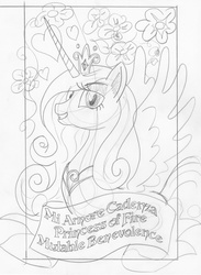 Size: 1213x1654 | Tagged: safe, artist:ciaran, derpibooru exclusive, princess cadance, flower, monochrome, sketch, smiling, solo, spread wings, tarot card, tarot:once upon a time, traditional art