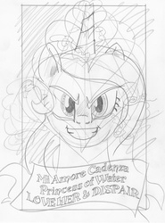 Size: 1221x1654 | Tagged: safe, artist:ciaran, derpibooru exclusive, princess cadance, evil grin, galadriel, lord of the rings, monochrome, sketch, solo, tarot card, tarot:once upon a time, traditional art
