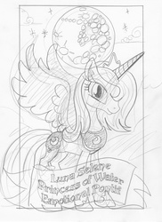 Size: 1202x1655 | Tagged: safe, artist:ciaran, derpibooru exclusive, princess luna, grin, mare in the moon, monochrome, moon, sketch, smiling, solo, spread wings, tarot card, tarot:once upon a time, traditional art