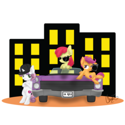 Size: 1600x1600 | Tagged: safe, artist:dr-whiskey, apple bloom, scootaloo, sweetie belle, boombox, cadillac, car, commission, cutie mark, cutie mark crusaders, sunglasses, the cmc's cutie marks