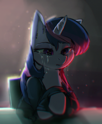 Size: 1072x1296 | Tagged: safe, artist:lunarmarshmallow, twilight sparkle, pony, unicorn, chair, chromatic aberration, clothes, crying, female, hoodie, mare, sad, sitting, solo, table