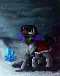 Size: 1236x1560 | Tagged: safe, artist:kaylemi, king sombra, umbrum, crystal, drool, male, open mouth, snow, snowfall, solo