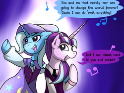 Size: 4000x3000 | Tagged: safe, artist:dazed-and-wandering, starlight glimmer, trixie, pony, unicorn, no second prances, absurd resolution, female, lesbian, mare, shipping, singing, startrix, the book of mormon